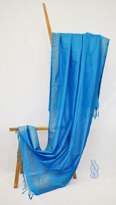 Benarsi Zari Blended Silk Dupatta Bright Blue