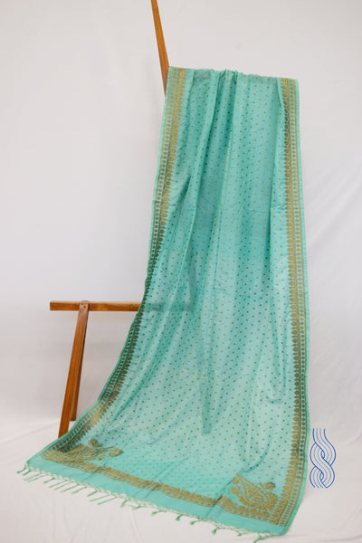 Benarsi Zari Blended Silk Dupatta light green