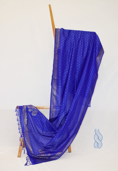 Benarsi Zari Blended Silk Dupatta Royal Blue