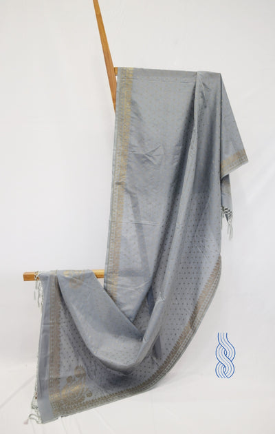 Benarsi Zari Blended Silk Dupatta Steel Grey