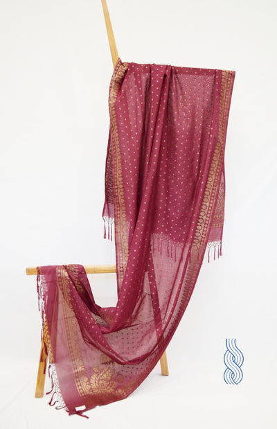 Benarsi Zari Blended Silk Dupatta Wine Colour