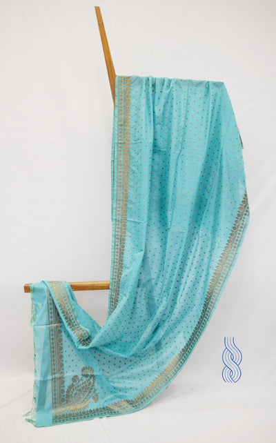 Benarsi Zari Blended Silk Dupatta Ice Blue