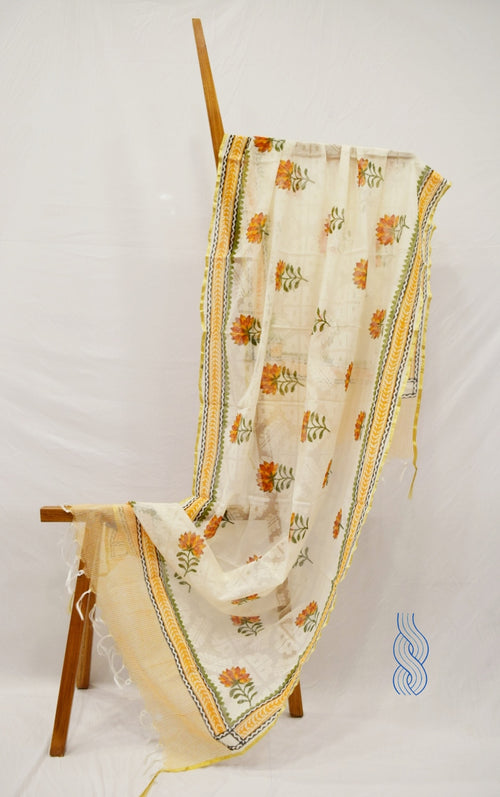 Jute Chanderi Yellow Orange Dupatta Floral