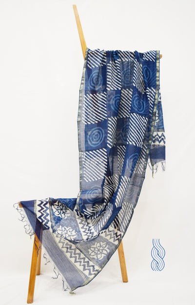Chanderi Indigo Blue Dupatta Stripes blocks swirls