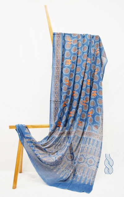 Fine Cotton Indigo Block printed Dupatta with Embroidery
