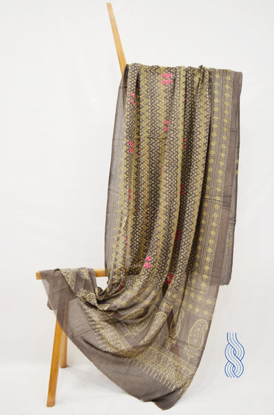 Fine Cotton Block printed Brown Dupatta with Embroidery