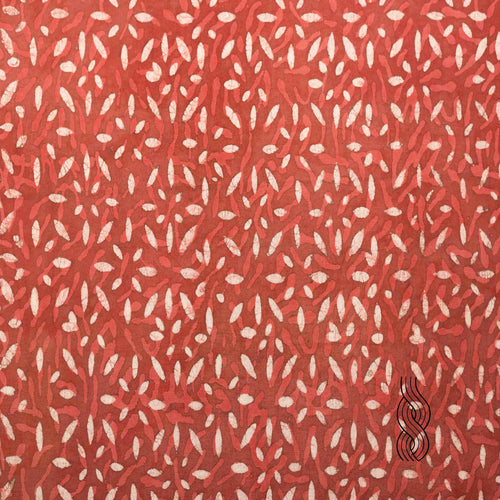 Block Printed Cotton Red brown