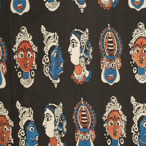 Kalamkari Cotton kathakali Faces Black