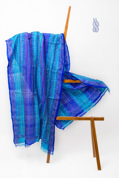Royal Blue & turquoise kantha Silk Dupatta