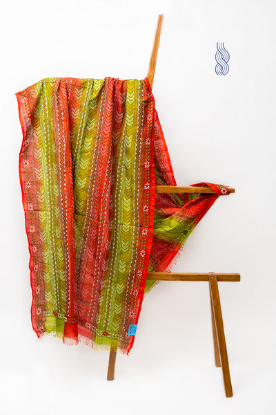 Red & Green kantha Silk Dupatta