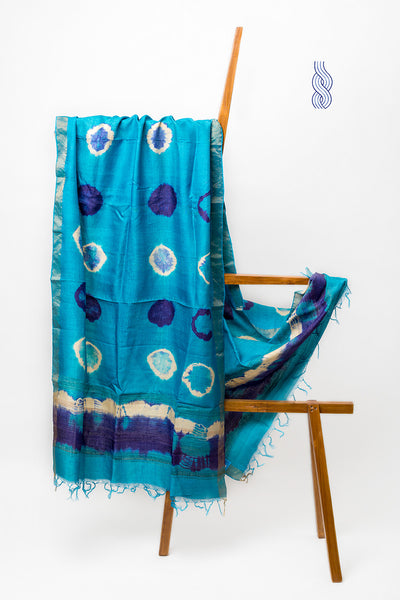 Blue & purple Tussar Silk Tie & Dye Circles Dupatta