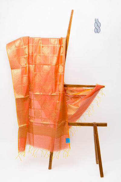 Benarsi Art Silk Dupatta Peach Checks