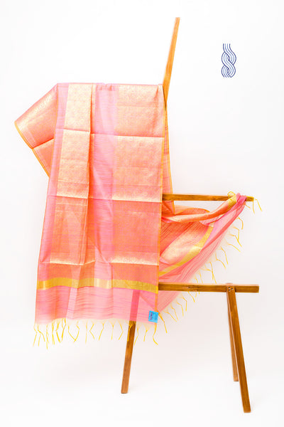 Benarsi Art Silk Dupatta Pink & Orange Zari Panel