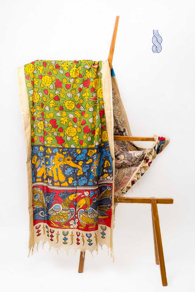 Kalamkari Handpainted Elephant & Peacock Cotton Dupatta