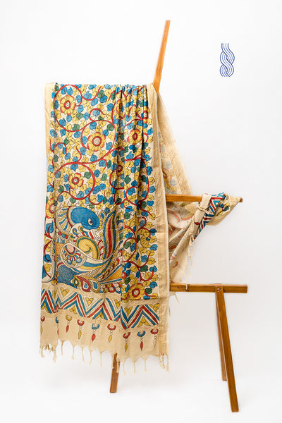 Kalamkari Handpainted Single Peacock Cotton Dupatta