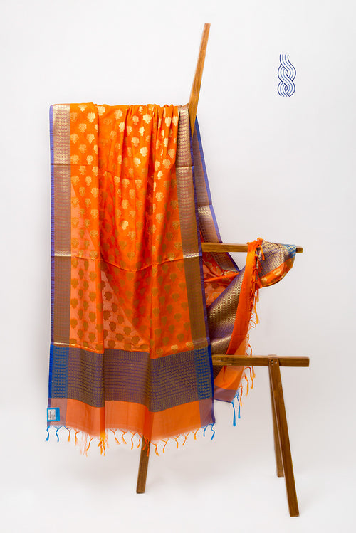 Benarsi Art Silk Dupatta Orange purple Zari Panel