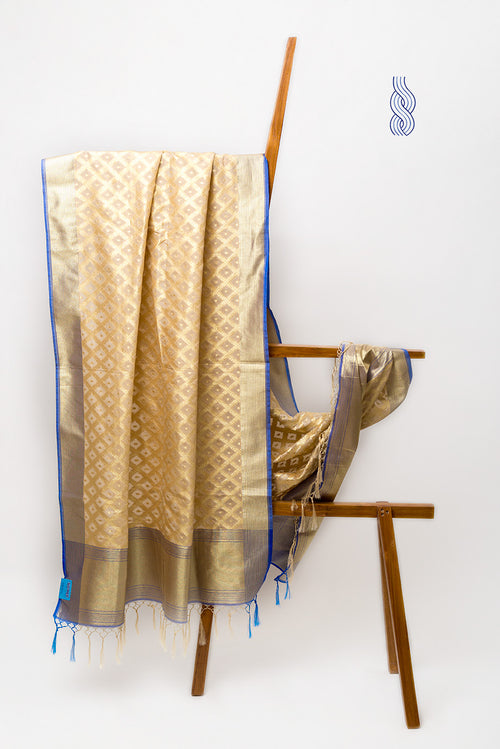 Benarsi Art Silk Dupatta Beige Blue checks Zari Panel