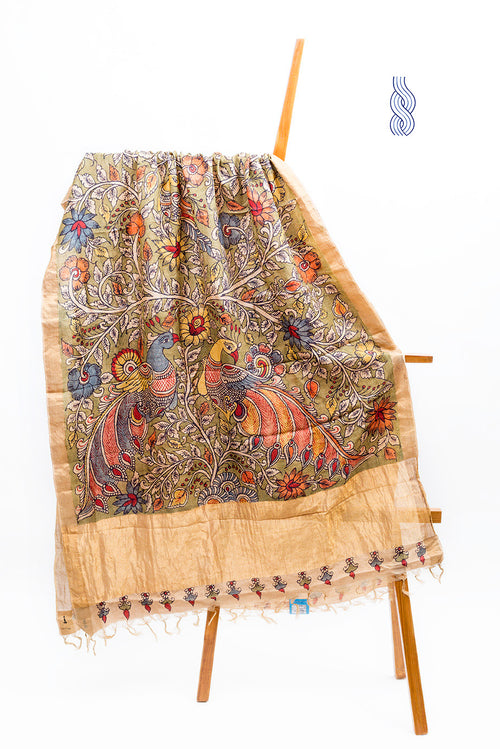 Kalamkari handpainted Pure Tussar Silk Double Peacock wide zari Dupatta