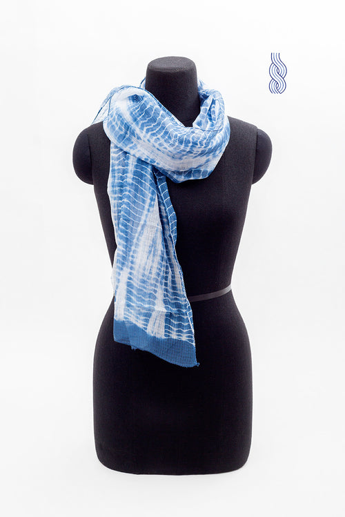 Kota Cotton Tie & Dye Blue Stole 2