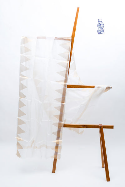 Kota Silk Temple Zari border White Dupatta