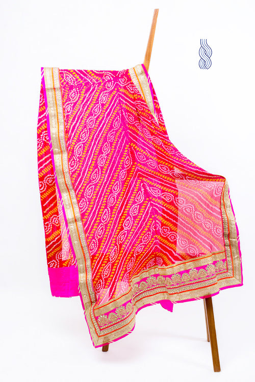 Bandhani Georgette Red Heavy work Border Dupatta