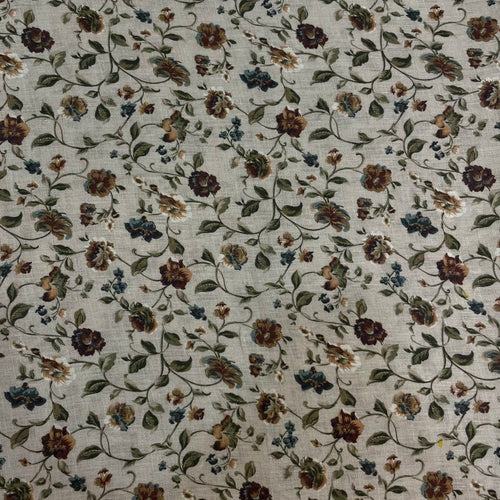 Printed Linen Brown Floral