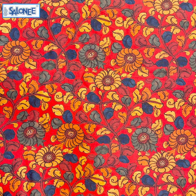 Kalamkari Printed Chanderi Silk Red Orange