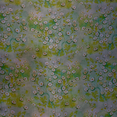 Printed Linen Green Yellow Floral