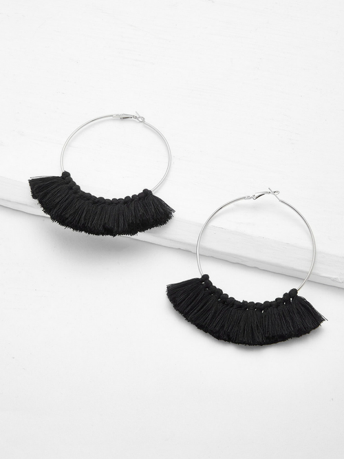 Tassel Hoop Earrings Black