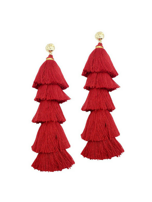 Gabriella Tassel Red Earrings