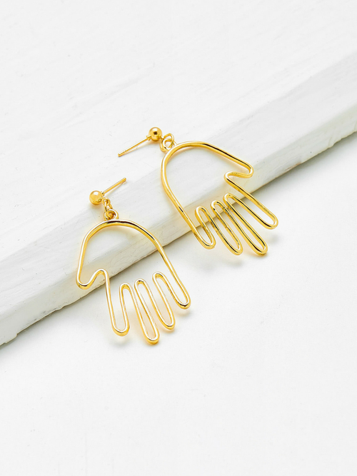 Abstract Hand Gold Earrings