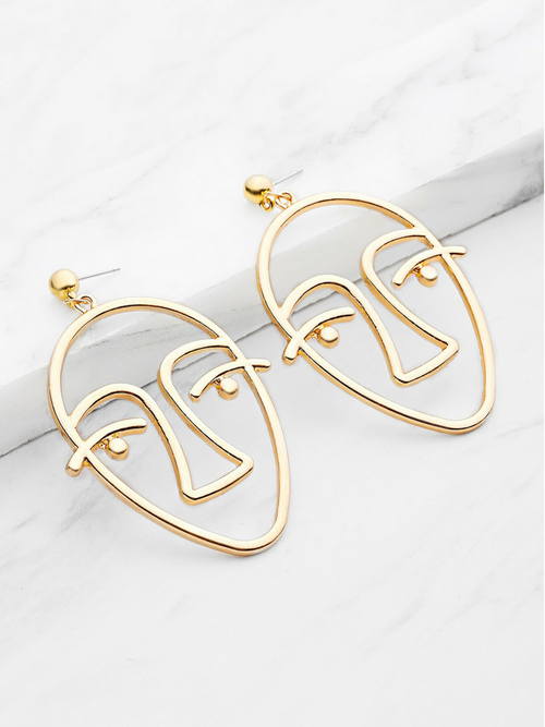Abstract Face Gold Earrings