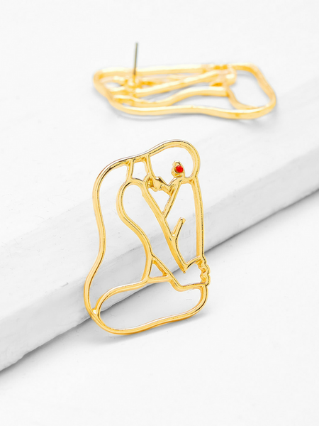Abstract Shape Gold Earrings