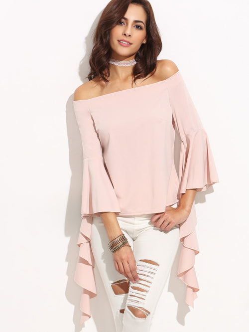 Pink Off The Shoulder Bell Sleeve Asymmetrical Top