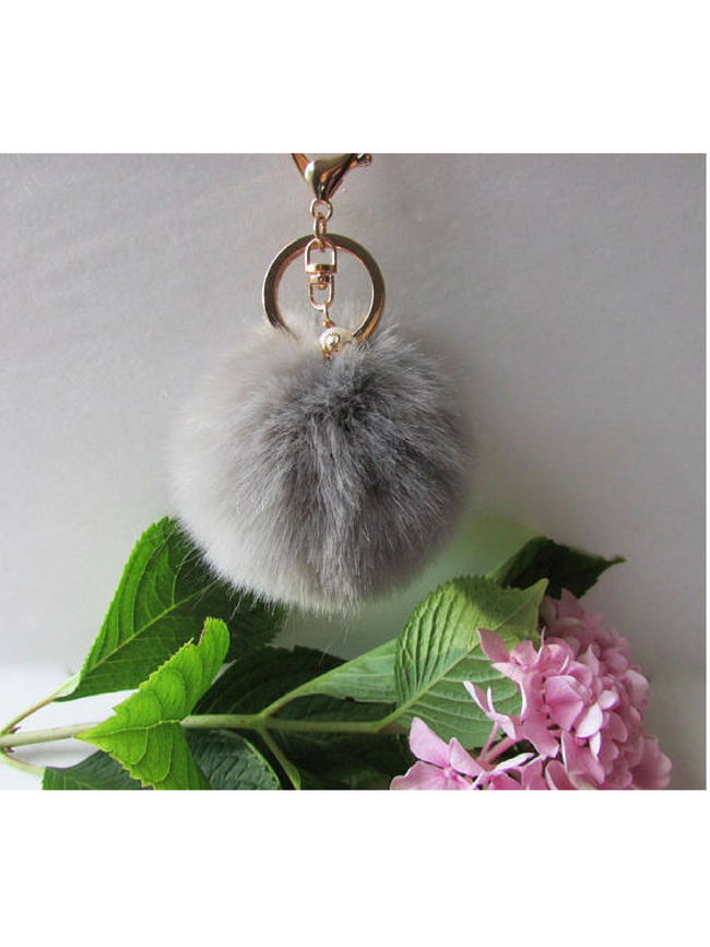 Pom Pom Grey Key Chain