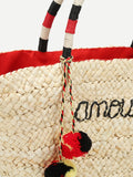 Straw Tote Bag With Double Pom Pom