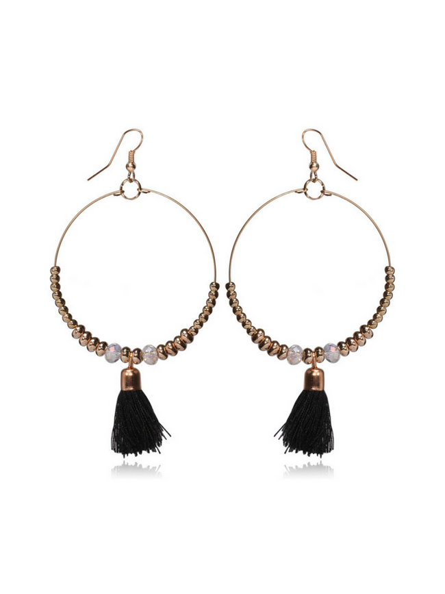 Single Tassel Black Earrings
