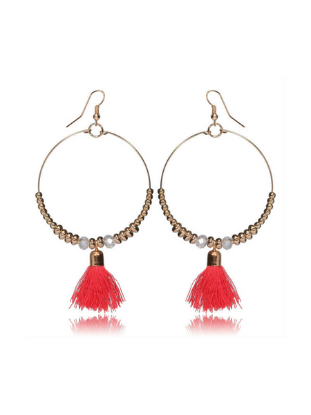 Single Tassel Red Earrings