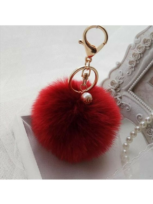 Pom Poms Cherry  Key Chain