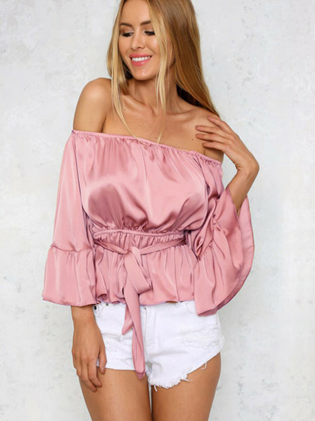 Pastel Pink Off Shoulder Top