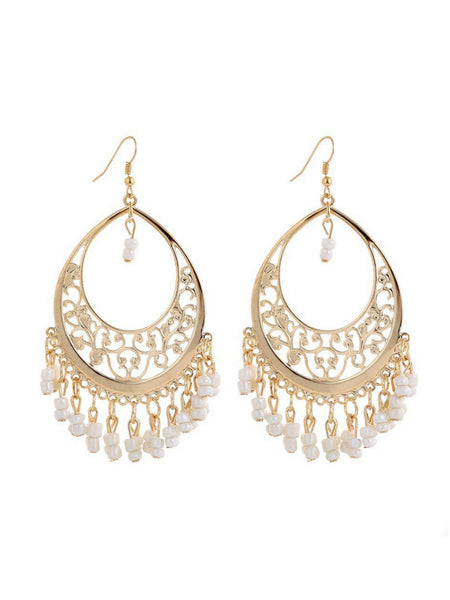 Chandabali  White Earrings