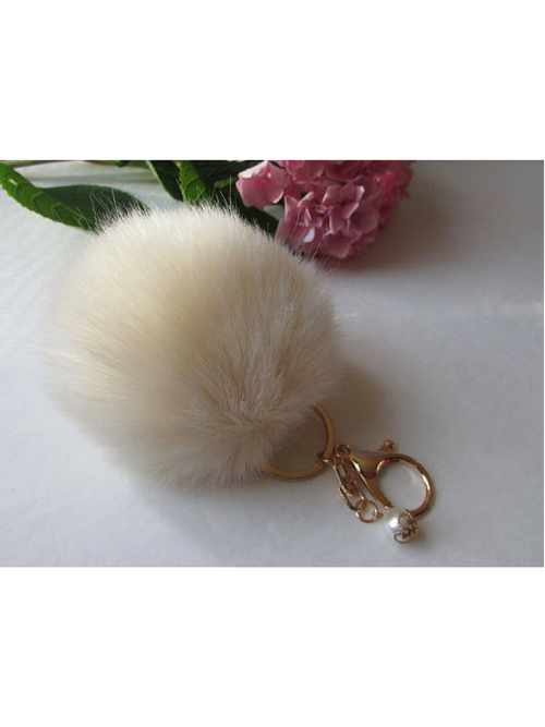 Pom Poms White Key Chain