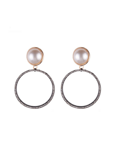 Studded Pearl Drop Earrings