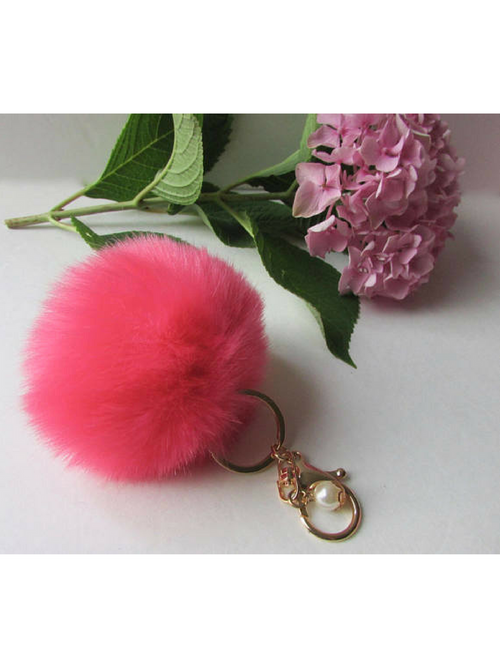 Pom Poms Hot Pink Key Chain