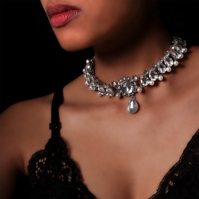 Vintage Crystal Drop Choker