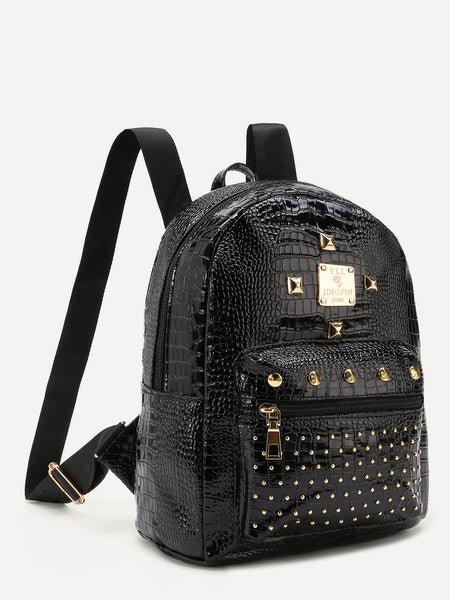 Classic Studded Black Backpack