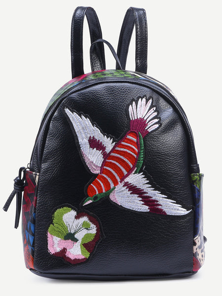 Embriodered Patchwork Black Backpack