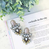Crystal Frost with Marble Design Earrings