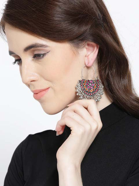 Rangeen Chandbalis Earrings (Pink/Orange)