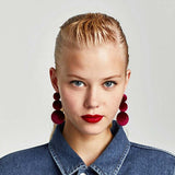Red Velvet Buttoned Earrings